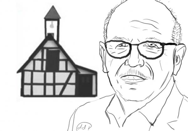 Heribert Schwan und das Wahrzeichen von Wallmenroth, das Glockenhäuschen. Zeichnung von D. Pirker.